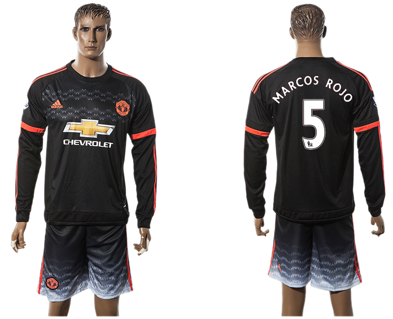 2015-16 Manchester United 5 MARCOS ROJO Third Away Long Sleeve Jersey