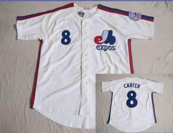 Expos 8 Gary Carter White Jersey