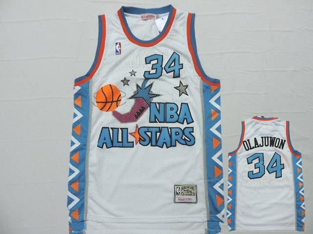 1996 All Star 34 Hakeem Olajuwon White Hardwood Classics Jersey