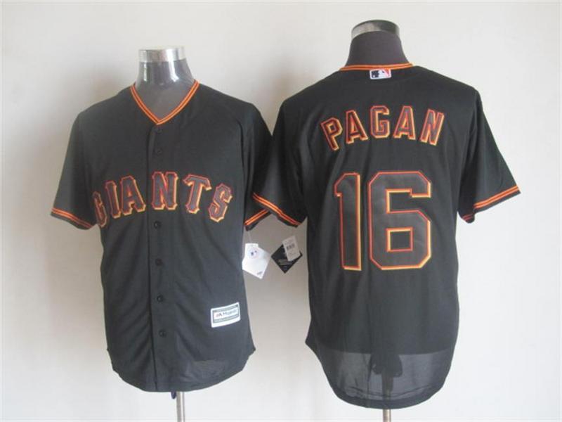 Giants 16 Angel Pagan Black New Cool Base Jersey