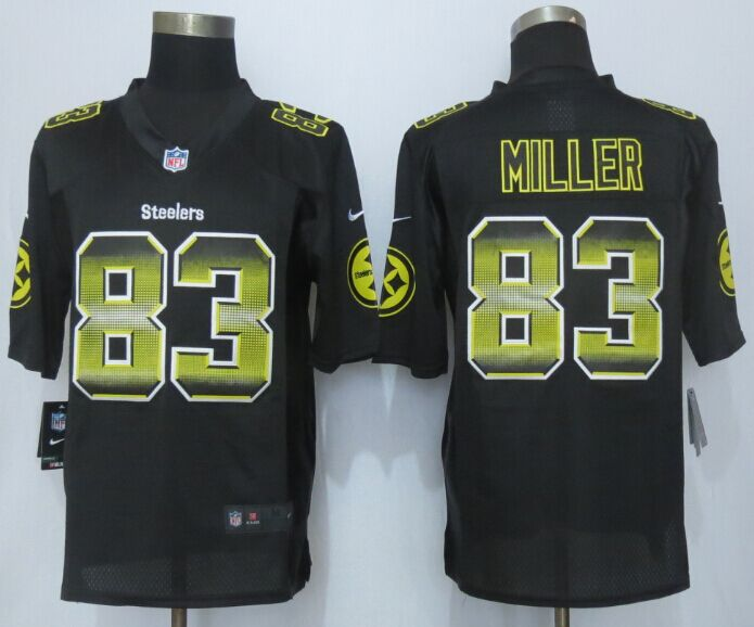 Nike Steelers 83 Heath Miller Black Pro Line Fashion Strobe Jersey