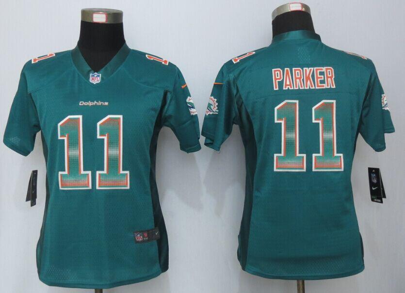 Nike Dolphins 11 DeVante Parker Green Pro Line Fashion Strobe Women Jersey