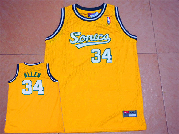 SuperSonics 34 Ray Allen Yellow Throwback Jersey