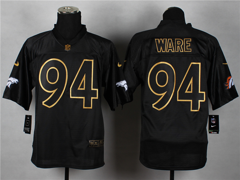 Nike Broncos 94 Ware Black Elite 2014 Pro Gold Lettering Fashion Jerseys