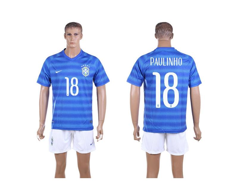 Brazil 18 Paulinho 2014 World Cup Away Soccer Jersey