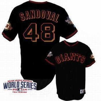 Giants 48 Sandoval Black 2014 World Series Cool Base Jerseys