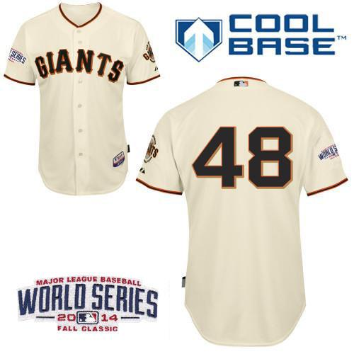 Giants 48 Sandoval Cream 2014 World Series Cool Base Jerseys