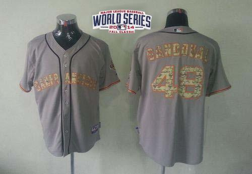 Giants 48 Sandoval Grey 2014 World Series Cool Base USMC Jerseys