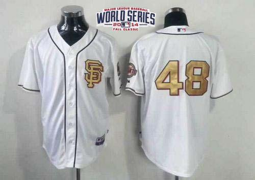 Giants 48 Sandoval White Gold Number 2014 World Series Cool Base Jerseys