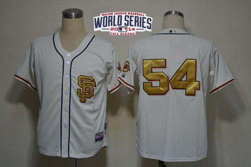Giants 54 Romo White Gold Number 2014 World Series Cool Base Jerseys