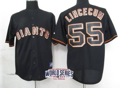 Giants 55 Lincecum Black 2014 World Series Cool Base Jerseys
