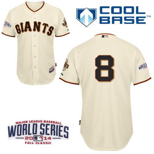 Giants 8 Pence Cream 2014 World Series Cool Base Jerseys