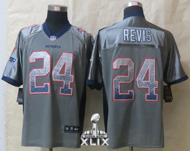 Nike Patriots 24 Revis Grey Drift Fashion Elite 2015 Super Bowl XLIX Jerseys