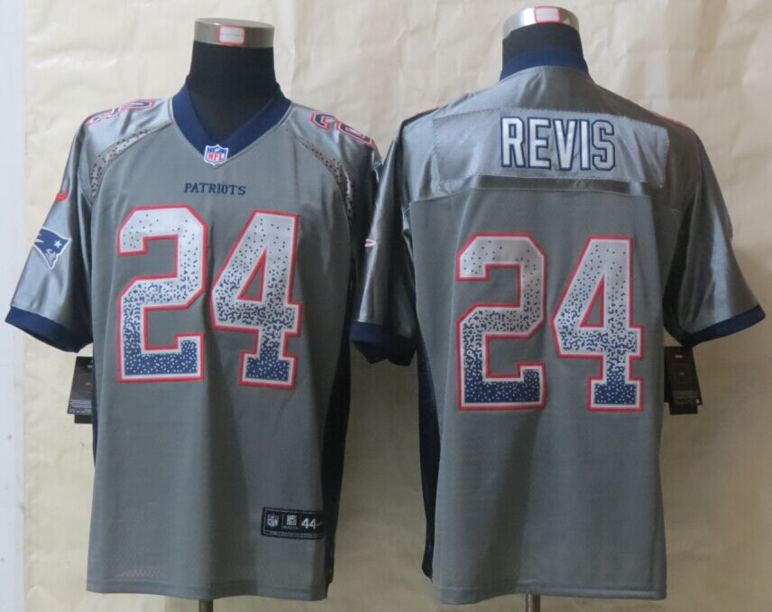 Nike Patriots 24 Revis Grey Drift Fashion Elite Jerseys