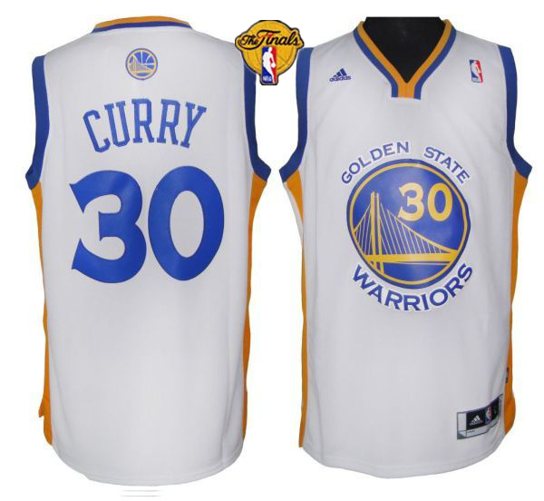 Warriors 30 Curry White 2015 NBA Finals Jersey
