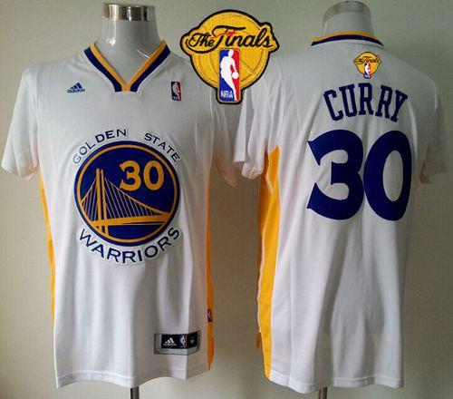 Warriors 30 Curry White Short Sleeve 2015 NBA Finals Jersey