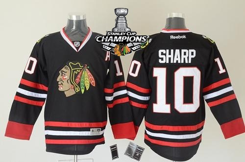 Blackhawks 10 Sharp Black 2015 Stanley Cup Champions Jersey