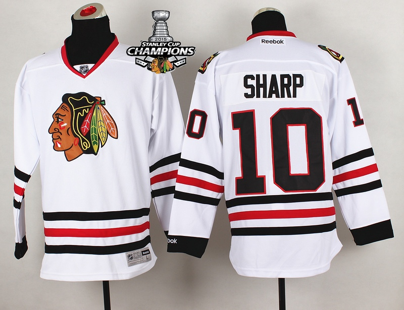 Blackhawks 10 Sharp White 2015 Stanley Cup Champions Jersey
