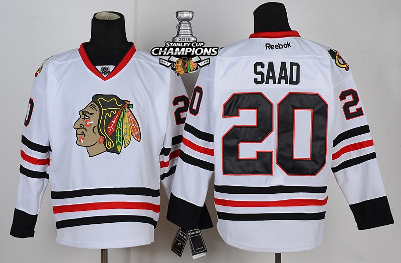 Blackhawks 20 Saad White 2015 Stanley Cup Champions Jersey