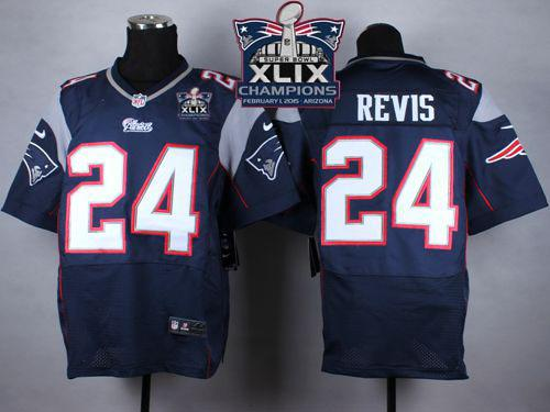 Nike Patriots 24 Revis Blue 2015 Super Bowl XLIX Champions Elite Jerseys