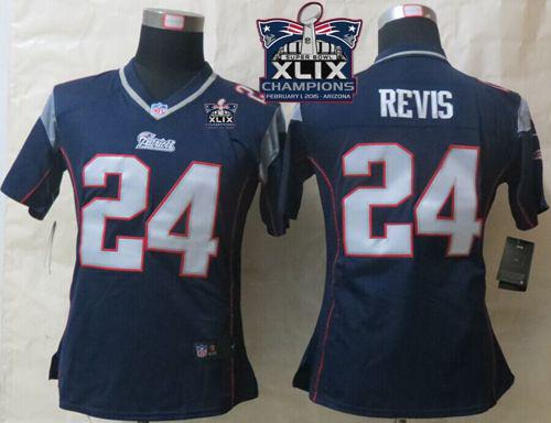 Nike Patriots 24 Revis Blue 2015 Super Bowl XLIX Champions Women Game Jerseys