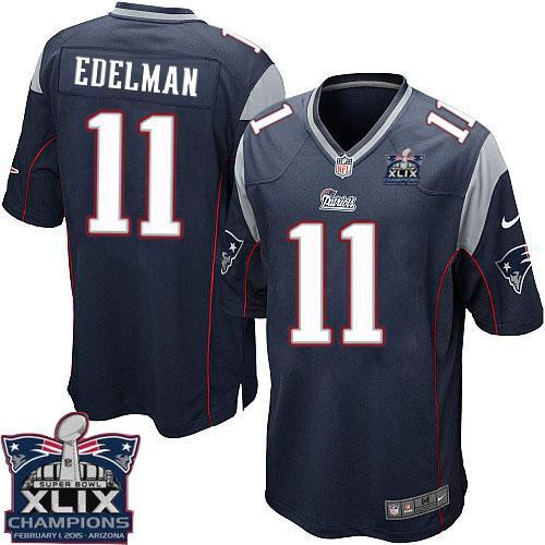 Nike Patriots 11 Edelman Blue 2015 Super Bowl XLIX Champions Youth Game Jerseys
