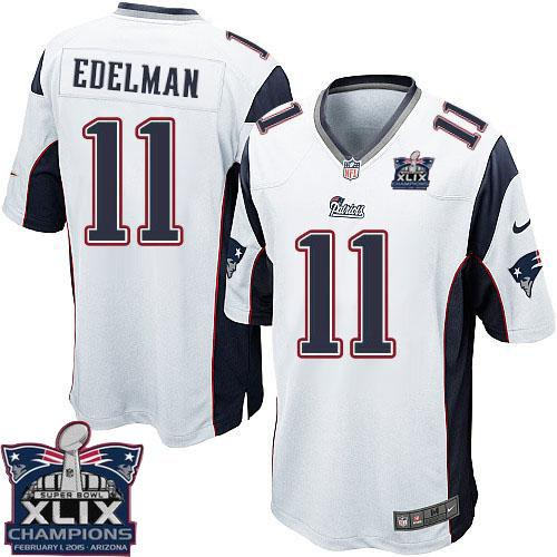 Nike Patriots 11 Edelman White 2015 Super Bowl XLIX Champions Youth Game Jerseys