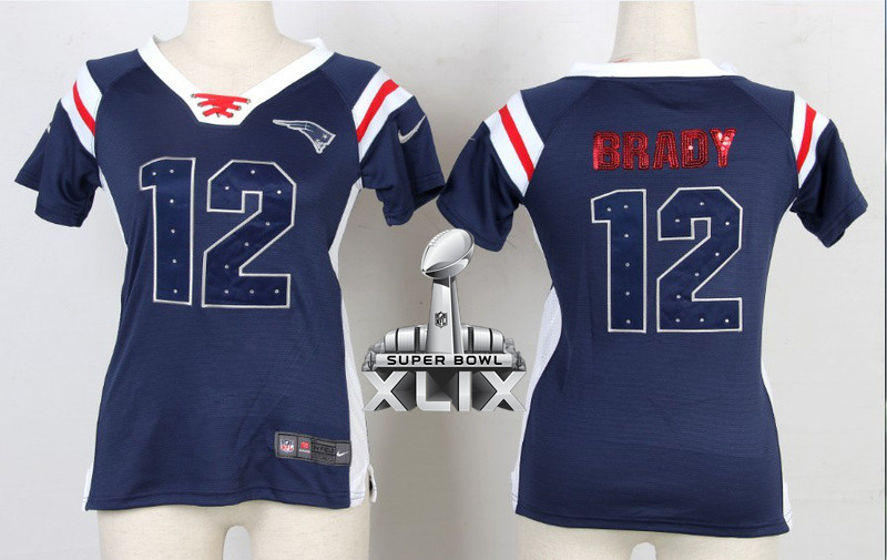 Nike Patriots 12 Brady Blue Sequin Lettering Women 2015 Super Bowl XLIX Jerseys