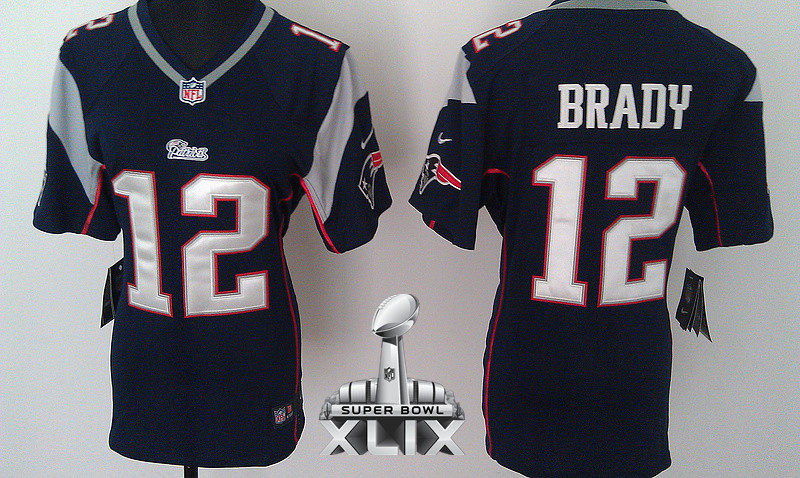 Nike Patriots 12 Brady Blue Women Game 2015 Super Bowl XLIX Jerseys