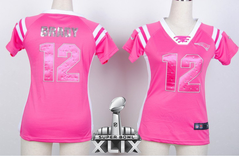 Nike Patriots 12 Brady Pink Women Handwork Sequin lettering 2015 Super Bowl XLIX Jerseys