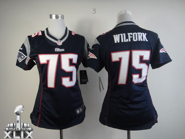 Nike Patriots 75 Wilfork Blue Women Game 2015 Super Bowl XLIX Jerseys