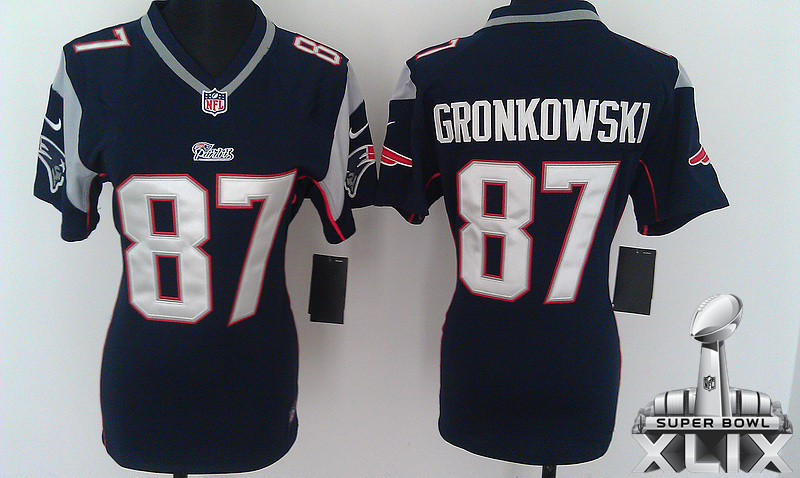 Nike Patriots 87 Gronkowski Blue Women Game 2015 Super Bowl XLIX Jerseys