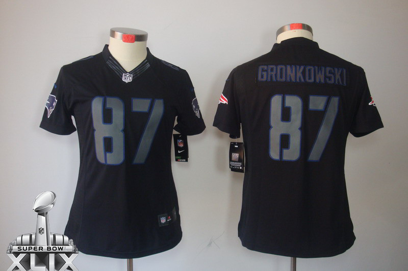 Nike Patriots 87 Gronkowski Black Impact Women 2015 Super Bowl XLIX Jerseys