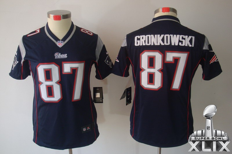 Nike Patriots 87 Gronkowski Blue Women Limited 2015 Super Bowl XLIX Jerseys