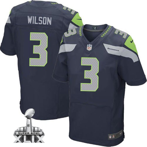 Nike Seahawks 3 Wilson Blue Elite 2015 Super Bowl XLIX Jerseys
