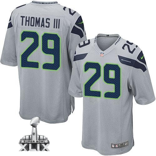 Nike Seahawks 29 Thomas III Grey Game 2015 Super Bowl XLIX Jerseys