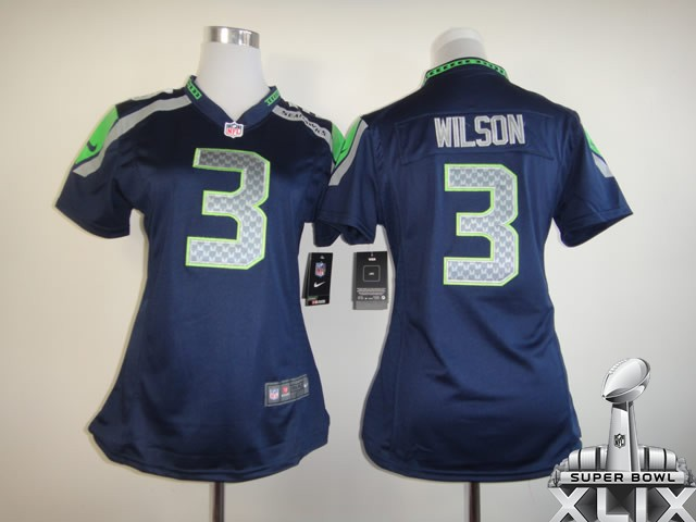 Nike Seahawks 3 Wilson Blue Women Game 2015 Super Bowl XLIX Jerseys