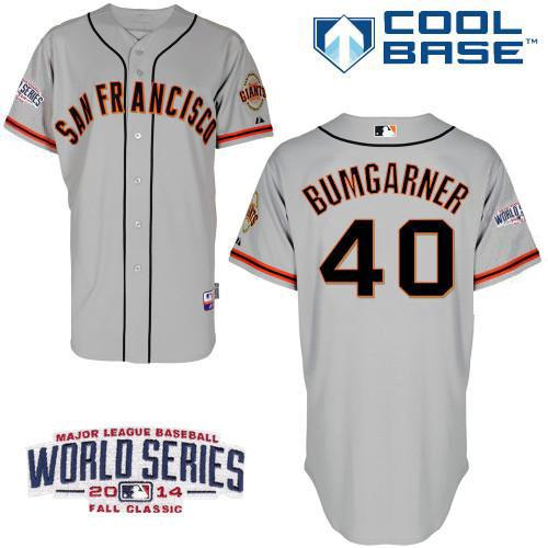 Giants 40 Bumgarner Grey 2014 World Series Cool Base Jerseys