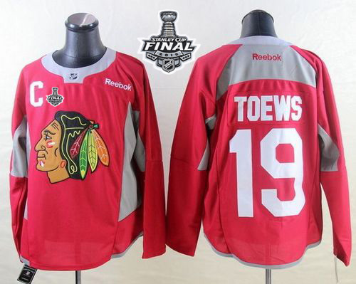 Blackhawks 19 Jonathan Toews Red Practice 2015 Stanley Cup Jersey