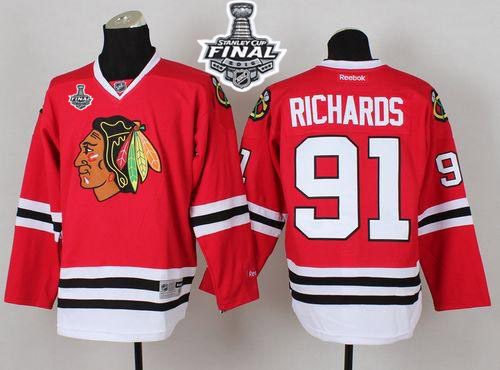 Blackhawks 91 Brad Richard Red 2015 Stanley Cup Jersey