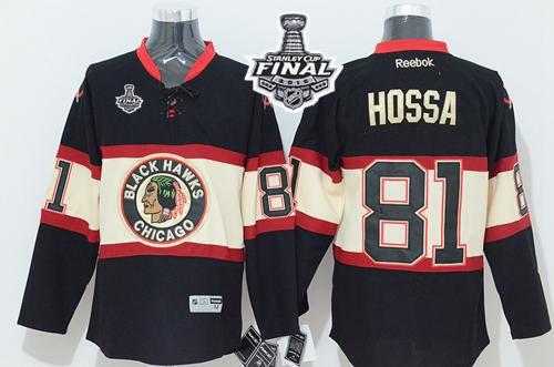Blackhawks Marian Hossa Black Third 2015 Stanley Cup Jersey