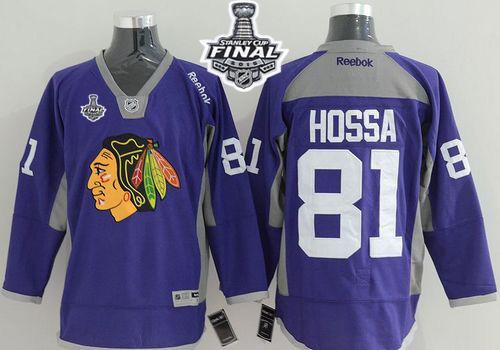 Blackhawks Marian Hossa Purple Practice 2015 Stanley Cup Jersey