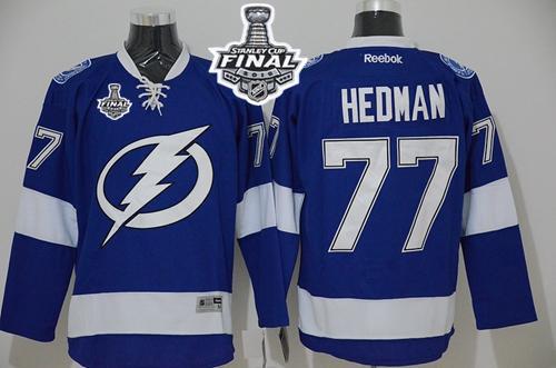 Lightning 77 Victor Hedman Blue 2015 Stanley Cup Jersey