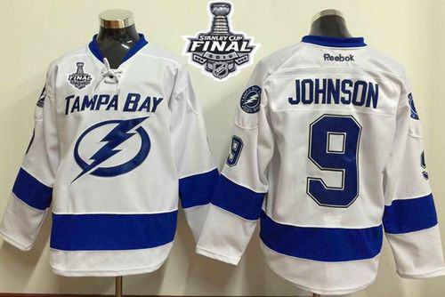 Lightning 9 Tyler Johnson White 2015 Stanley Cup Jersey