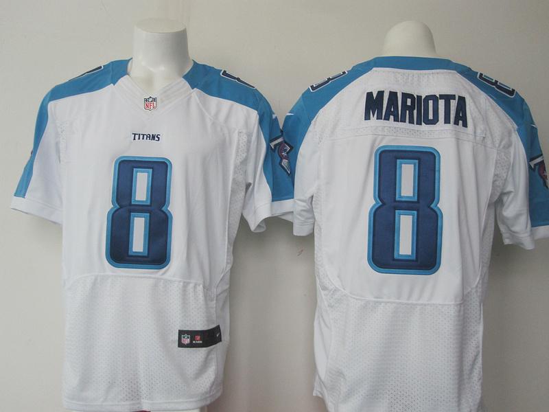 Nike Titans 8 Marcus Mariota White Elite Jersey