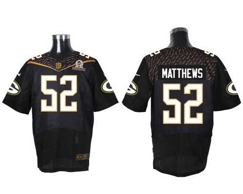 Nike Packers 52 Clay Matthews Black 2016 Pro Bowl Elite Jersey