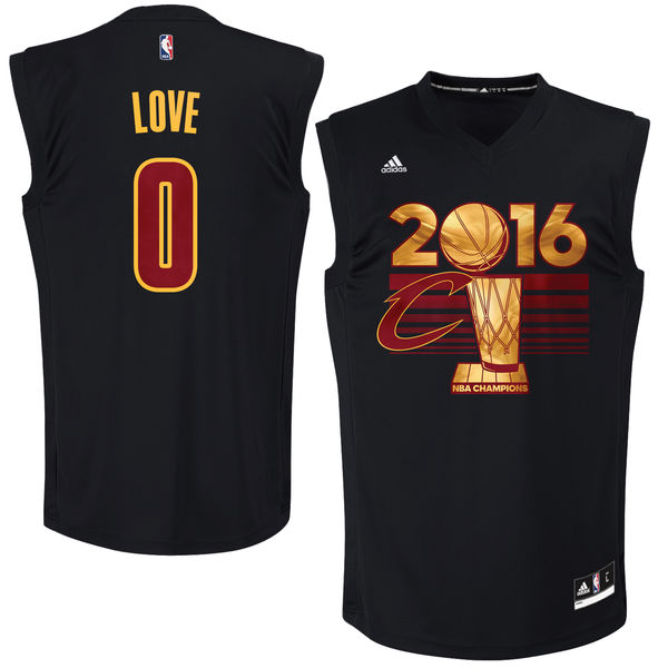 Cavaliers 0 Kevin Love Black 2016 NBA Finals Champions Jersey