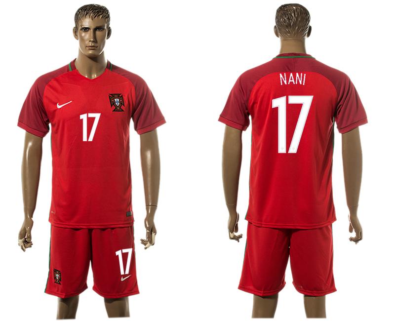 Portugal 17 NANI Home UEFA Euro 2016 Soccer Jersey