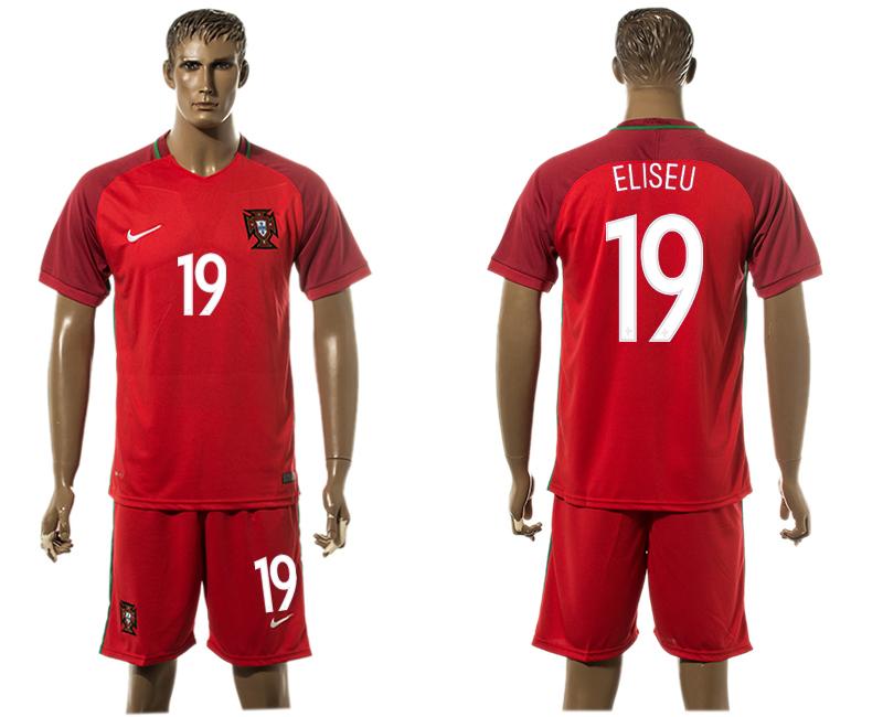 Portugal 19 ELISEU Home UEFA Euro 2016 Soccer Jersey
