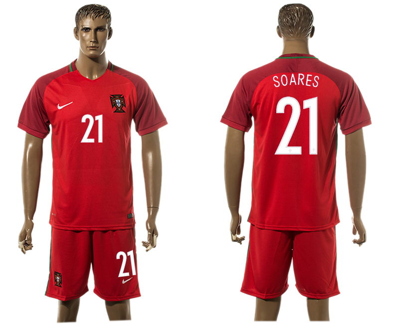Portugal 21 SOARES Home UEFA Euro 2016 Soccer Jersey